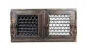 Вентиляционная решетка Kratki 17/17 Ретро графит с двумя дверками, открывающаяся, регулируемая