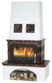 Печь-камин ABX Laponie с т/о, вставка стальная, коричневая