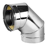 Отвод 90° с изоляцией 50 мм (двустенный, сталь 0,5 мм, диаметр 180 мм, зеркальная) OTvDR90