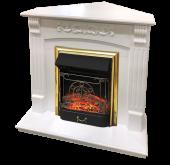 Электрокамин Royal Flame Sorrento белый дуб с очагом Majestic FX Brass