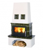 Печь-камин ABX Laponie с т/о, вставка стальная, зеленая