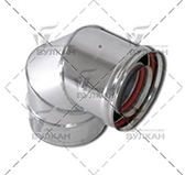 Отвод VCR 90º коаксиальный (сталь 0,5 мм, диаметр 80х130 мм, зеркальная)