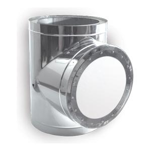 Тройник-взрывной клапан 90° с изоляцией 50 мм (двустенный, сталь 0,5 мм, диаметр 200 мм, зеркальная) TVvDR