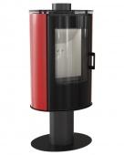 Печь-камин Kratki Koza/AB/S/N/O/DR/Glass/Kafel/Czerwony (сталь, кафель красный, поворотная)