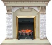 Электрокамин Royal Flame Dublin арочный сланец крем/слоновая кость с патиной с очагом Fobos FX Brass