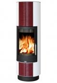 Печь-камин ABX Porto II (бордовый кафель, белая)