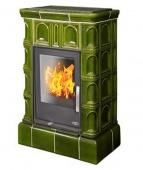Печь ABX Britania KI зеленая (вставка комбо, кафельный цоколь)