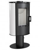 Печь-камин Kratki Koza/AB/S/N/O/DR/Kafel/Bialy (сталь, кафель белый, поворотная)
