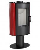 Печь-камин Kratki Koza/AB/S/N/O/DR/Kafel/Czerwony (сталь, кафель красный, поворотная)