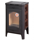 Печь-камин EcoKamin Бавария Оптима изразцовая Арка коричневая с вентиляцией