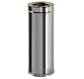 Труба первая  L = 884 мм с изоляцией 100 мм (двустенная, сталь 0,5 мм, диаметр 130 мм, зеркальная) TLwER884