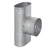 Тройник 90° с выходом на D 130 - 200 (сталь 0,5 мм, диаметр 120x240 мм, матовая) TRHO90