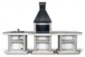 Барбекю Stimlex Darina XL Light gray со столом и мойкой