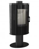 Печь-камин Kratki Koza/AB/S/N/O/DR/Glass/Kafel/Czarny (сталь, кафель черный, поворотная)
