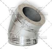 Отвод DOTH 45° (материал: полированная нержавеющая сталь, диаметр 130 мм)