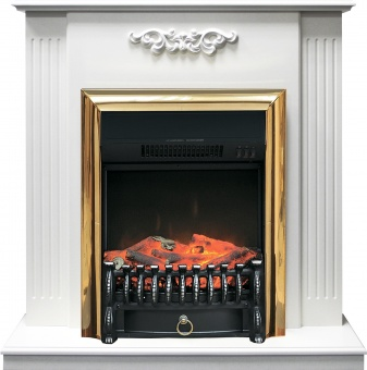 Электрокамин Royal Flame Lumsden белый дуб с очагом Fobos FX Brass