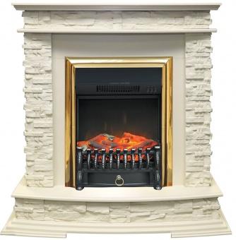 Электрокамин Royal Flame Luzern сланец белый/слоновая кость с очагом Fobos FX Brass