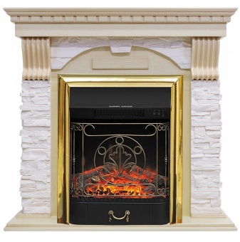 Электрокамин Royal Flame Dublin арочный сланец крем/слоновая кость с патиной с очагом Majestic FX Brass
