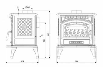 Чугунная печь KawMet P 7 EKO (9.3 кВт)