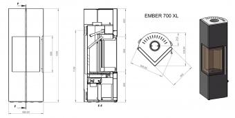 Печь Ember Стеван 700 XL белая