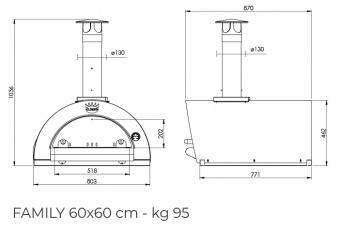 Печь Clementi Family 60 inox 304 на дровах