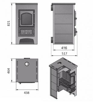 Печь-камин Везувий ПК-01 (270) с плитой и т/о бежевая
