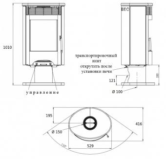 Печь-камин ABX Tartu 5 (черная сталь, бразильский песч. с верх. плитой) поворотная
