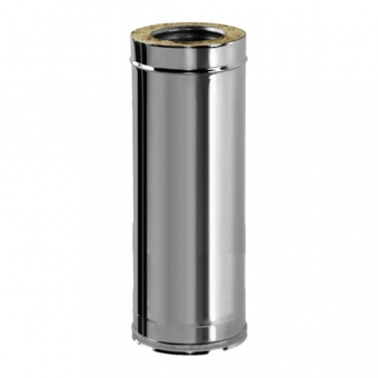 Труба L = 1000 мм с изоляцией 50 мм (двустенная, сталь 0,5 мм, диаметр 150 мм, зеркальная) TLvDR1000