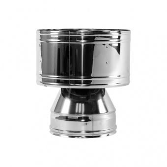 Дефлектор с изоляцией 50 мм (двустенный, сталь 0,5 мм, диаметр 200 мм, зеркальная) DFvDR